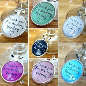 Wedding wine glass charm favour thank you for sharing our day place setting deco