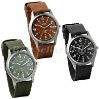 Men's Sport Quartz Date Nylon Strap Army Military Wrist Watches Canvas Band