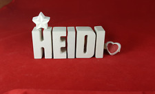 Beton, Steinguss Buchstaben 3D Deko Namen Schrift HEIDI als Geschenk verpackt