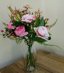 Artificial Pink Roses and Blossom with Vase