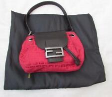 FENDI red logo handbag with black leather strap shoulder bag dustcover EXCLNT