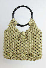 TAN CROCHET HANDBAG - Women's Vintage Bamboo Handle One-Of-A-Kind! SUPER RARE!