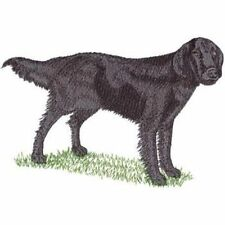 "Flat-Coated Retriever Dog, Embroidered Patch 8.5"" x 5"""