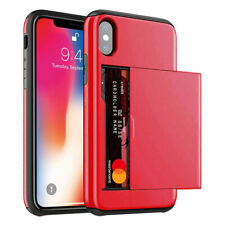 New Slide Card Pocket Wallet Heavy Duty Shockproof Case Cover For iPhone Samsung