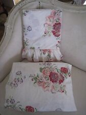 LAURA ASHLEY WHITE FULL FLAT & FITTED COTTAGE FLORAL SHEETS #37
