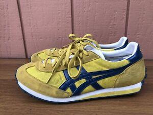 RARE Asics Onitsuka Tiger Men US 10.5 Yellow Blue D503N Tennis Shoe Sneaker CY