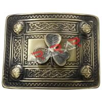 Scottish Kilt Belt Buckle Irish Shamrock 4 Dome Mirror Design Brass Antique