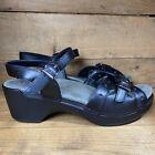 Dansko Sissy Womens EUR 38 Ankle Strap Black Leather Wedge Sandal US 7.5-8