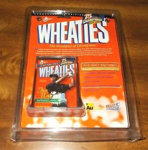 Tiger Woods 1999 Limited Edition 24KGold Facsimile Signature Mini Wheaties Box.