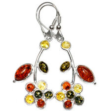 7.4g Authentic Baltic Amber 925 Sterling Silver Earrings Jewelry A8323