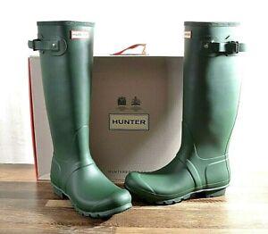 Hunter Women's Green Matte Rubber Rain Boots Original Tall 10 B MED WFT1000RMA