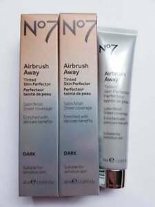 No7 2 X Airbrush Away Tinted Skin Perfector Shade 3 DARK New Boxed RRP £33