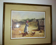SANDY L CLOUGH Framed Signed and Matted Edition# 456/500 Farmhouse w/Chickens
