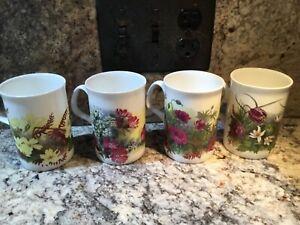 """Mug set of 4 """"SPRING"""" by Roy Kirkham Bone China   England"""
