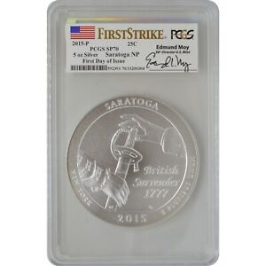2015-P Saratoga PCGS SP70 First Day Of Issue Ed Moy Signature ATB 5 Oz Silver