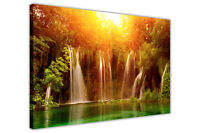 WATERFALL AT SUNRISE CANVAS PRINTS WALL ART PICTURES PHOTOS ROOM DECOR LANDSCAPE