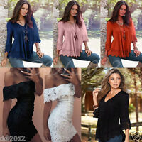 Womens Summer Casual Lace Long Sleeve Tops T-shirts Ladies Loose Cotton Blouses