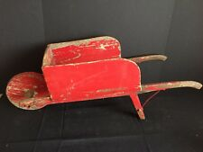 Antique Rustic Country Child's Toy Wooden Wheelbarrow Red