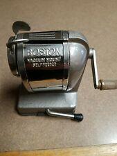 VINTAGE Boston Vacuum Mount Self Feeder - Pencil Sharpener, Chrome and gray