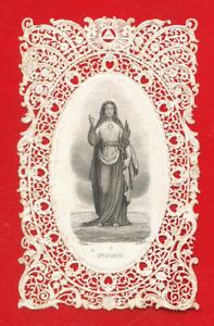 CANIVET IMAGE PIEUSE ANCIENNE DENTELLE HOLY CARD- SAINTE AGATHE
