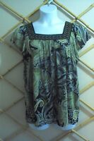 APT. 9 Womens Top~Paisley Green Black Sheer with Lining Short Sleeve~  Size XL