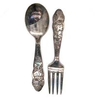 VTG Estate Mickey Mouse WM Rogers & Sons Silver Plate Fork & Spoon Set! 129