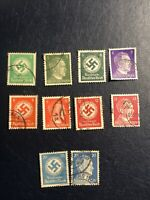 Germany Third Reich German Swastika- Hitler Stamp lot   10 Pcs , Used