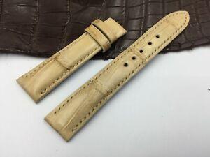 *READ* 18mm/16mm Genuine Crocodile Leather Watch Strap Band, Light Yellow