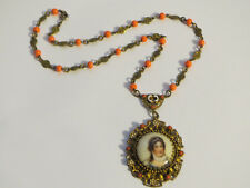 Unique Victorian Hand Painted Percelain Cameo Pendant Necklace with Coral