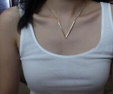 Word Shape Pendant Choker Necklace Occident Fashion Simple Golden Alloy V