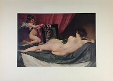 "1955 Vintage Full Color Art Plate ""VENUS w MIRROR (Rokeby)"" VELAZQUEQ Litho"