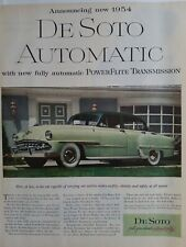1954 green DeSoto automatic powerflite transmission car 1953 ad
