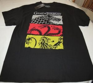 HBO'S Game of Thrones  3 House Symbols Adult Mens XL xlarge T-Shirt black NWT
