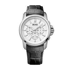 Reloj De Cuarzo Hugo Boss 1513033 para hombre Cronógrafo Dial Blanco Correa De Cuero Negro
