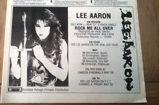 LEE AARON Rock Me All Over tour 1985 UK Press ADVERT 12x8 inches