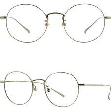 Leicht Titan Damen Herren Brille Brillengestell Metall Rund Panto Grau Fassung