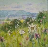 Moon Daisies,ORIGINAL SIGNED IMPRESSIONIST.Wensleydale.DALES.OIL PAINTING/CANVAS