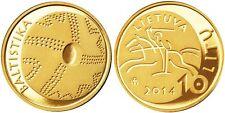 """Lithuania 10 litu 2014 """"Lithuanian science"""" PROOF Gold Au 999.9"""