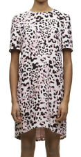 FAB WHISTLES MEGHAN BRUSHED FUR LEOPARD PRINT PINK DRESS NEW SIZE 14