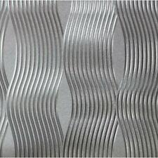 Silver Foil Wave Wallpaper Luxury Embossed Vinyl Metallic Shiny Modern Arthouse