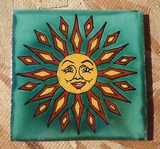 """10~Talavera Mexican 4"""" tile pottery handmade Green Smiling SUN Terra Cotta Gold"""
