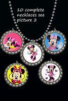 Minnie mouse Bottle Cap Necklaces great party favors lot of 10
