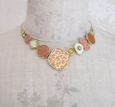 BOHM Abstract Panel Necklace CITY CHIC Gold Peach Cream Enamel Swarovski BNWT