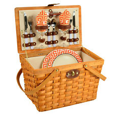 Traditional American Style Picnic Basket with Service for 2 - Diamond Orange