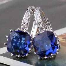 18CT Bolsa De Regalo Gratis Azul Zafiro Oro Lleno Pendientes Regalo de Cumpleaños para mujeres