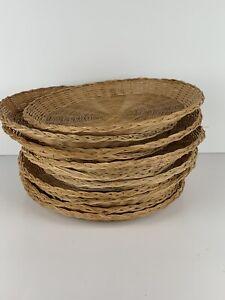 Vtg Lot of 11 Wicker Rattan Bamboo Paper Plate Holders Basket Wall decor boho