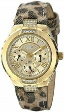 New Authentic Guess Woman animal leather Strap Multi function Watch U0319L1  NWT