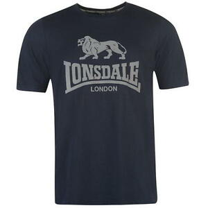MENS LONSDALE NAVY/GREY PRINTED T-SHIRT FOR SALE RRP £22.99 - SALE 15% OFF