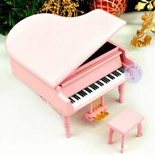 "Play ""ROMANCE DE L'AMOR"" Wooden Piano Music Box With Sankyo Movement (Pink)"