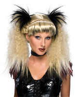 Wig Halloween Carnival Gothic Baroque Countess Witch Beehive Braun Curls Horns